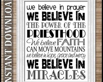We Believe in Miracles SUBWAY ART -  Printable INSTANT Download