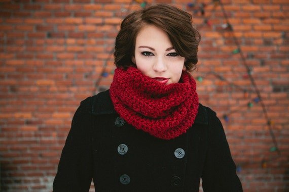 Handmade Circle Infinity Cowl Crocheted in Dark Red Maroon