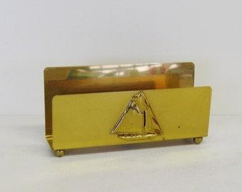 Vintage Brass Letter Holder, Nautical Sailboat