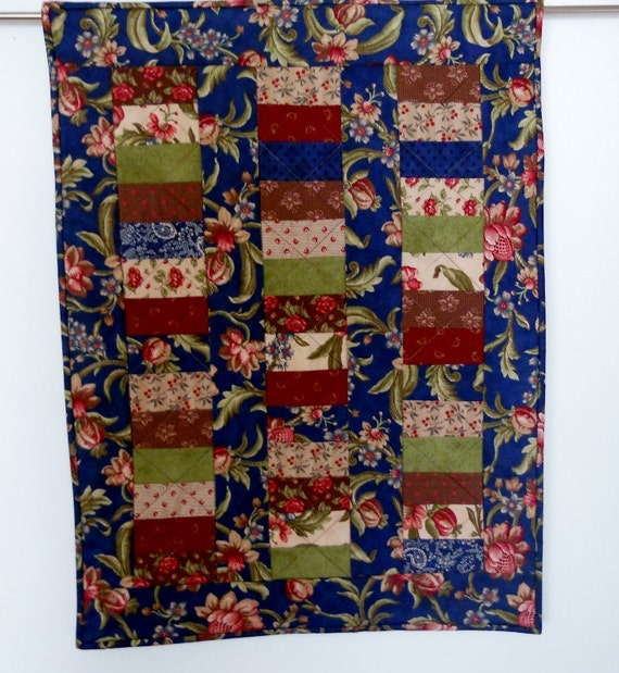 Stacked Coins Quilted Table Runner Wall Hanging Blessings by Moda in Navy Burgundy Green