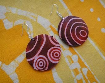 Red Bullseye Pattern African Fabric Earrings Batik Wax Print Tie Dye Hippie Boho
