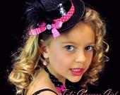 Hot Pink & Black Sequin Mini Top Hat...Headpiece, Fascinator . . . ROXIE