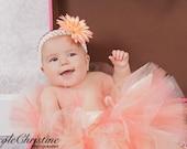 Peach Coral Ivory Tutu...Peach Newborn Tutu, Birthday Tutu, Flower Girl Tutu...Baby, Toddler, Girls, Adult Sizes . . . PEACH BLOSSOM