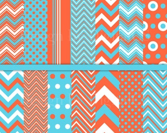 Aqua orange blue chevron digital paper pack Craft Paper Scrapbook paper Commercial use 12x12 Printable paper