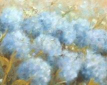 "Blue Hydrangea Print - Country Kitchen Decor, Wall Decor, 8 x 10"" Hydrangea Art Print of Original Painting ""Endless Bloom"""