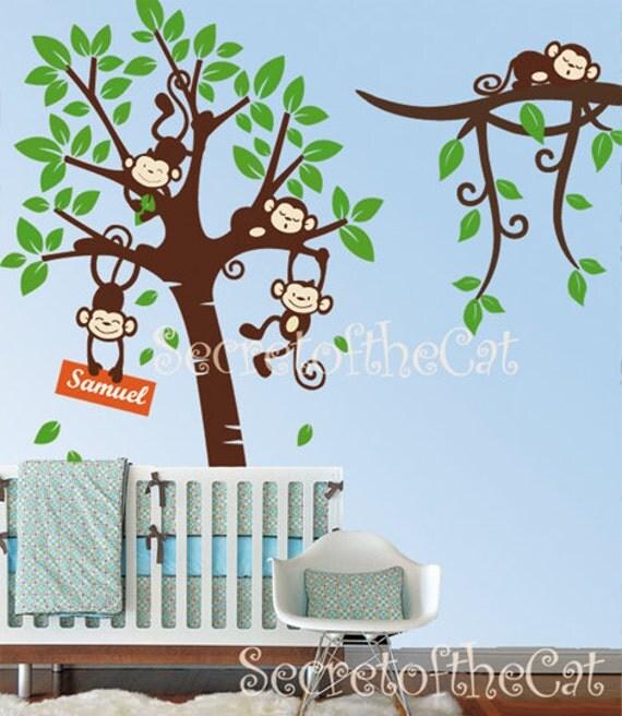 Nursery Wall Decal - Wall decals nursery - Tree Decal Branch Vinyl Decal Tree and Monkey Wall Decals  Baby Tree Decals