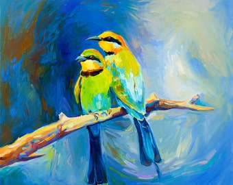 Original Oil Birds  24x20 in, Portrait Painting Original Art Impressionistic OIl on Canvas by Ivailo Nikolov