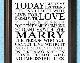 Personalized Couple Art- MARRY- Print 8x10