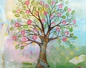 four seasons tree set 12 x 12 mixed media print