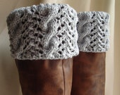 Boot Toppers-Light Gray Cables & Lace