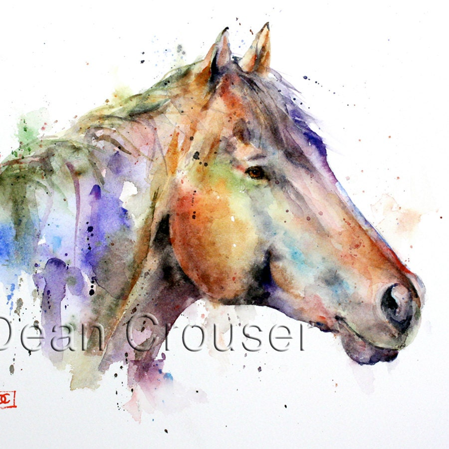 colorful horse watercolor print by dean crouser