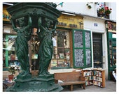 Paris bookstore, Paris photography -Shakespeare & Company with Wallace Fountain - reading, books, library, den, study home decor 8x10, 16x20
