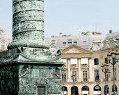 Paris Photography - Vendome Column Photo - French Decor - Parisian Print Architecture Photograph Neutral Mint Cream Travel Wall Art