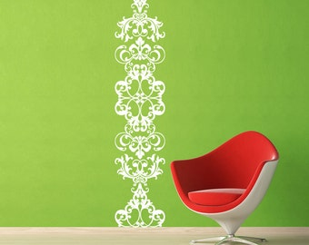Damask Wall Decal - Damask Scroll Vinyl Wall Decal  - extra large wall decal - floor to ceiling - Gold wall decals