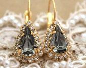 Smoky Gray black diamond Crystal teardrop hook earring - 14 k plated gold post earrings real Swarovski rhinestones .