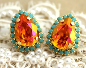 Coral Mint Earrings,Christmas Gift,gift for her,Swarovski Orange Earrings,Stud Earrings,Orange Earrings,Swarovski Stud Earrings,Bridal Studs
