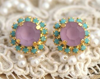 Stud earrings Turquoise Purple Crystal -14 k plated gold post earrings real swarovski rhinestones.