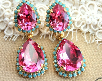 Pink and Turquoise Crystal chandelier statement earrings teardrops - 14k gold plated earrings real swarovski rhinestones .