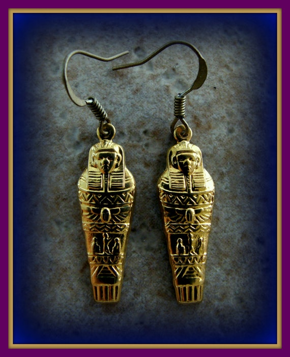 EGYPTIAN PHAROAH EARRINGS Jewelry - Vintage Art Deco Antique Style King Tut