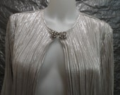 Vintage Silver Micro Pleated 80's Rhinestone Clasp Open Front Shirt  M/L