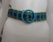 SALE Vintage Blue & Gold Corded 70's Belt  L