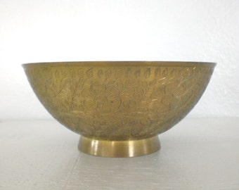Vintage Etched Brass Bowl Made in India Floral Design Green Patina 1970's Home Decor GallivantsVintage