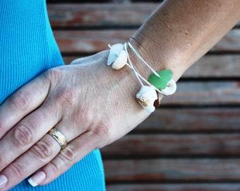 3 Silver Shell Bangle Sea Glass Bangle Puka Shell Hawaii Jewelry Sea Glass Jewelry SeaGlass Bracelet Hawaiian Jewelry Hawaiian Bracelet 023
