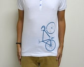 Men cotton white with buttons fixie vintage t shirt medium