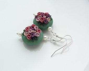 Vintage rose style polymer clay earrings in green, pink and purple