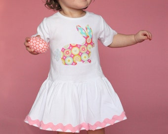 Toddler Easter Dress - Bunny Applique-