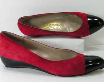 ferragamo shoes womens 6.5 b m suede cherry red black low wedge heels formal
