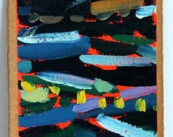 Abstract Navy Blue Ocean Original Oil Painting