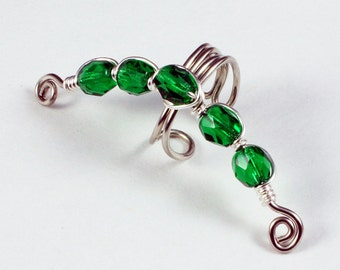 Silver Ear Cuff with Emerald Green Glass Beads