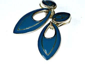 Vintage Ocean Blue Clip On Earrings