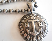 "RESERVED DM  Boys Brigade Anchor Pendant, 20""+ Oxidized Sterling 3mm Ball Chain"