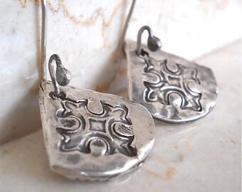 Handmade Sterling Silver Maltese Cross REVERSIBLE  Fan Earrings