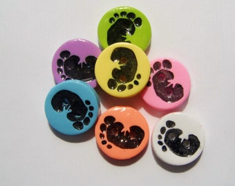Button Stamped Baby Footprints handmade polymer clay buttons ( 6 )
