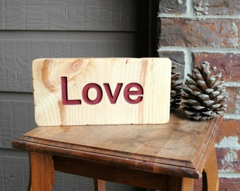 Love Carved Wood Sign, Reclaimed Wood