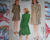 """Vintage 1941 McCall Pattern 4399 for Girl's Coat, Size 8, Breast 26"""", Waist 23"""""""