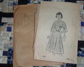 "1950s Vintage American Girl Dress Pattern 9290 Size 16, Bust 34"", Waist 28"", Hips 37"""