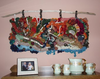 "Freeform Knit Crochet Wall Hanging, On the Shores of Gitche Gumee, Driftwood OOAK, 39"" x 24"""
