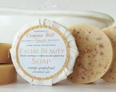 Natural Round Facial Beauty Soap - face wash, handmade, cleanser, face, beauty, skin care, citrus essential oils, goat milk