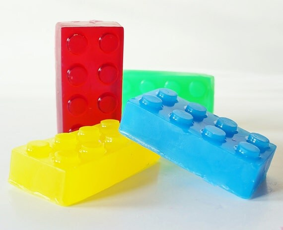 BUILDING BLOCK SOAP 2-Pack - Choose Soap Colors, friends, handmade, glycerin, scented, kids, fun, custom party favors