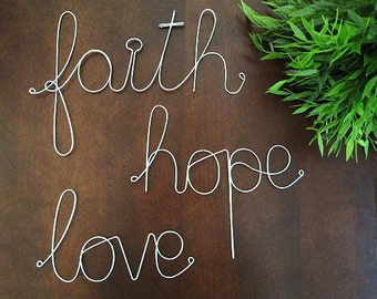 FAITH Hope LOVE Wire Sign - Wall Hanging, Wall Decoration, Inspirational Gift, Wire Sign, Wire Arts, Custom Wire Sign,Custom Wall Decoration