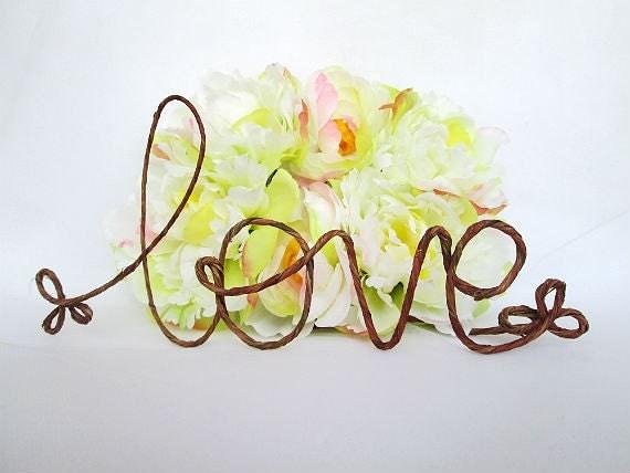 Rustic Wedding Cake Love Topper