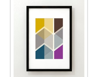 CUBI VIGNETTE no.4 - Giclee Print - Mid Century Modern Danish Modern Minimalist Cube Modernist Eames Abstract