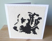 Applique Laborador Retriever dog art card,  blank, textile