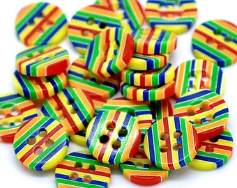 30 Striped Buttons Fun Primary Colors with Four Holes - BUT143