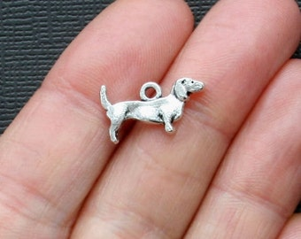 8 Dachshund Charms Antique  Silver Tone Detailed 2 Sided Dog Charms - SC1087