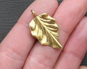 5 Large Leaf Charms Antique Gold Tone 2 Sided - GC063